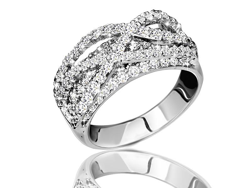 Серебряное родированное кольцо Переплеты усыпка россыпь цирконием, фианитом к00002 кв