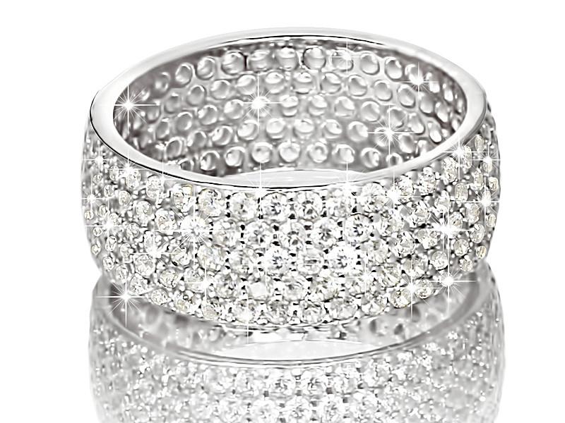 42989214e0ee Серебряное родированное кольцо широкая дорожка усыпка россыпь цирконием,  фианитом к00003 кв - SINARA.UA