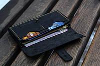 """Портмоне гаманець, клатч, кошелек """"Comely"""", колір: чорний, розмір: 18х10,5 см., натуральна шкіра, фото 1"""