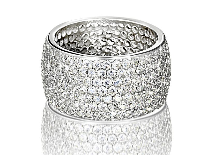 Серебряное родированное кольцо широкая дорожка усыпка россыпь цирконием, фианитом
