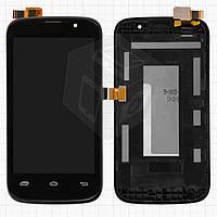 Дисплей + touchscreen (сенсор) для Prestigio MultiPhone 3400 Duo, с передней панелью, черный, оригинал