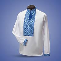 Вышиванка мужская с голубым орнаментом, лен выбеленый