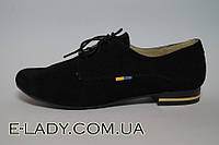 Ботиночки черные женские из натуральной замши