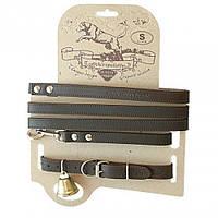 Кожаный ошейник с поводком для охотничьих собак.Акрополис(Acropolis)СКО-3