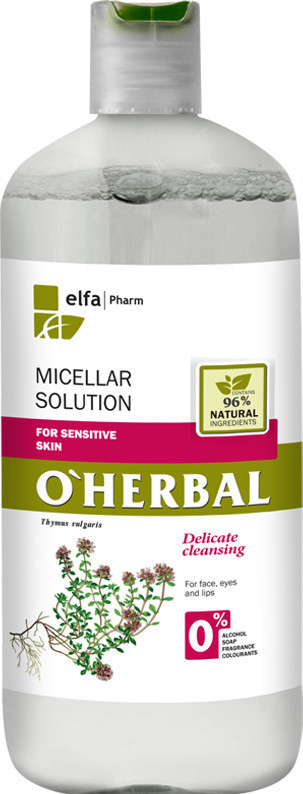"O'Herbal Мицеллярный раствор для чувствительной кожи ""with thyme extract"" 500ml"