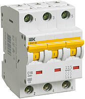 Автоматический выключатель ВА47-60 3P 16 А х-ка C, IEK