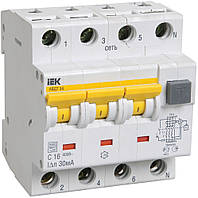 Автоматический выключатель диф. тока АВДТ34 4P 16 А 30 мА хар-ка C тип A, IEK