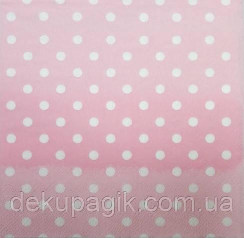 Серветка для декупажу КП -45,рожева. (25х25см)