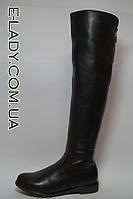 Ботфорты Зимние высокие черные сапоги из натуральной кожи