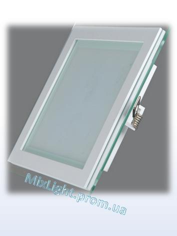 Светодиодный светильник квадрат 12W Glass Rim Metal 4000K, фото 2