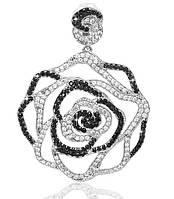 Серебряный родированный кулон подвеска Роза с черными и белыми камнями цирконием фианитами п00330 кв