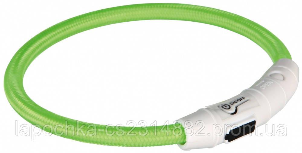 Trixie Ошейник светящийся для собак USB Flash, зеленый