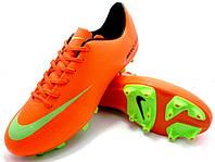 Футбольные бутсы Nike Mercurial FG Orange/Green/Black, фото 1