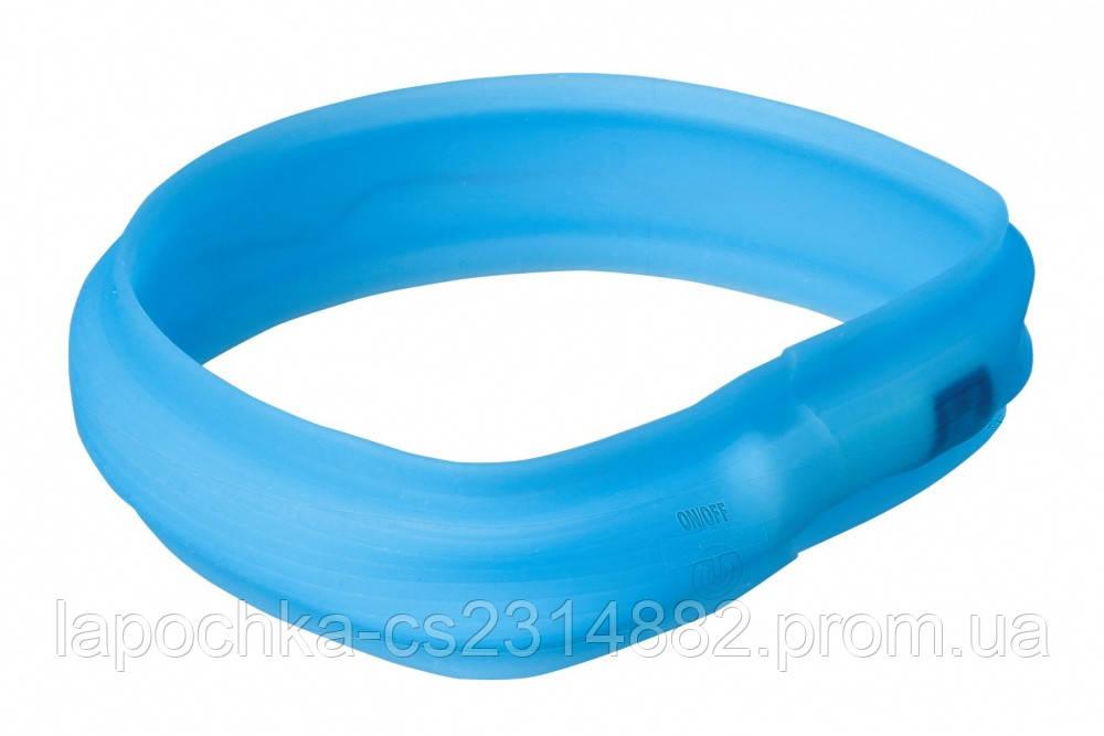 Trixie Ошейник светящийся для собак USB Flash, синий, 50см/30мм