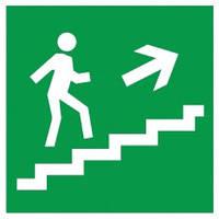 Самоклеящаяся этикетка: 150×150 мм, «Направление к эвакуационному выходу (по лестнице направо вверх)», IEK