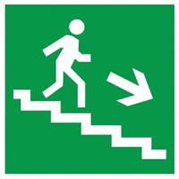 Самоклеящаяся этикетка: 150×150 мм, «Направление к эвакуационному выходу (по лестнице направо вниз)», IEK