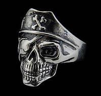 Серебряное байкерское мужское женское унисекс кольцо перстень для байкера череп Пират Разбойник 18530 ст