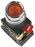 Кнопка ABLF-22 неон d22 мм красная 240В 1з+1р, IEK