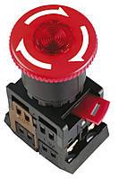 """Кнопка ANE-22 """"грибок"""" с фиксацией неон d22 мм красная 240В 1з+1р, IEK"""
