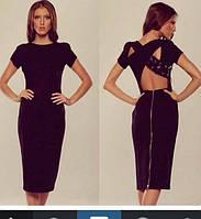 Женское платье миди черное 253