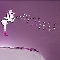 Зеркальные наклейки фея со звездами (фея 36см) пластиковые, звезды 1*1см набор