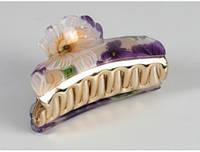 Краб для волос Банан с фиолетовыми цветами
