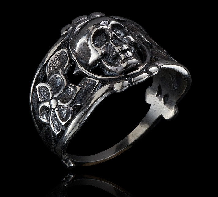 Серебряное байкерское кольцо Череп и Розы