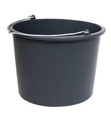 Ведро строительное круглое черное 12 л с носиком