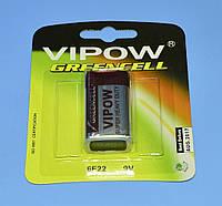 """Батарейка 6LR61(""""крона"""") солевая """"Vipow"""" greenceel 1шт/блист.  BAT0082B"""
