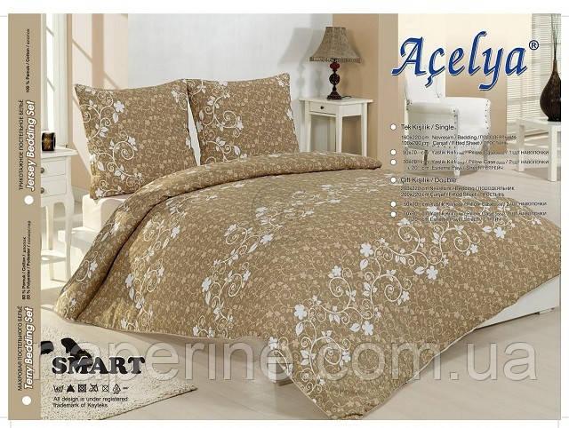 Трикотажное постельное бельё  ACELYA  Smart с простыней на резинке ЕВРО