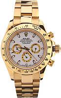 Мужские часы Rolex Daytonа кварцевые золотые белый циферблат
