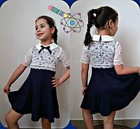 Детское трикотажное платье с гипюром на девочку, фото 1