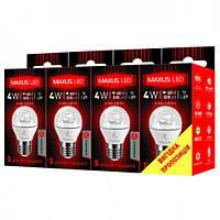 Светодиодная лампа LED-433 G45 (упаковка 4 шт.), 4 Вт 3000К E27, MAXUS