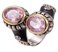 """Перстень женский""""Поцелуй""""камень розовый топаз,высокое качество размер 10"""