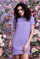 Замшевое короткое женское платье прямого фасона с коротким рукавом Турция