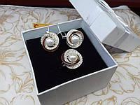 Шикарный набор роза серебро 925 пробы с вставками золота 375 пробы с жемчюгом
