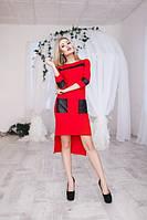 Модное облегающее женское платье с удлинением юбки сзади со вставками экокожи рукав длинный кукуруза