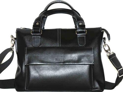 Мужская черная гладкая сумка из высококачественной натуральной кожи VATTO MK20Kaz1