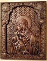 Икона резная Божьей Матери Владимирская из бука