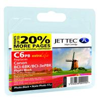 Картридж струйный JetTec для Canon Pixma iP4000/iP5000/MP750 аналог BCI-3ePB/BCI-6B Black (110C000610) повышен