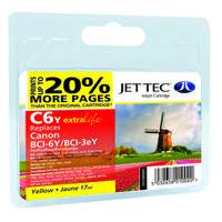 Картридж струйный JetTec для Canon Pixma iP4000/iP5000/MP750 аналог BCI-3eY/BCI-6Y Yellow (110C000604) повышен