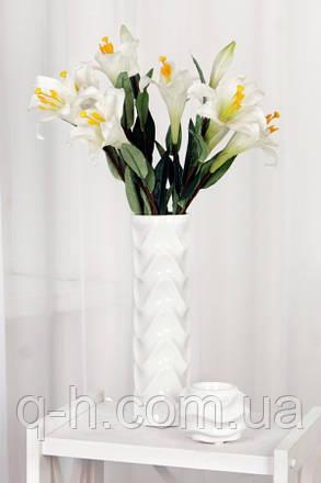 Белая ваза для цветов из керамики, Волна, фото 2