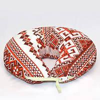 Подушка для кормления, бязь. Красная вышивка