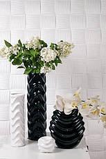 Ваза для цветов из керамики черная, Волна, фото 3