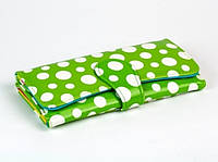 Женский кошелек Белый Горошек (Зеленый)
