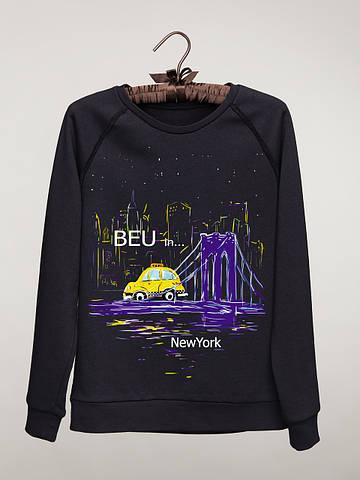 Женский светшот (свитшот) с принтом Нью - Йорк (машина) Neon