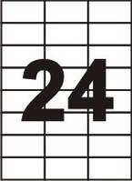 Самоклеящаяся  бумага Sapro, 70 г/м2, белая, A4/24 (70x37.1), 100 лист./пачка
