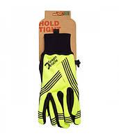 Перчатки Green Cycle NC-2401-2014 WindStop с закрытыми пальцами S черно-желтые