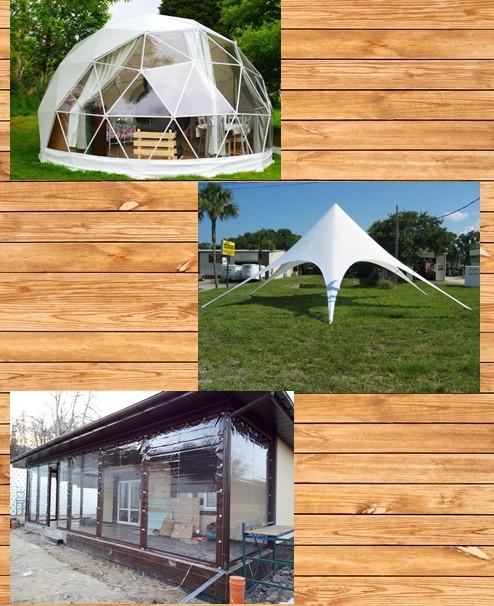 Тентовые изделия, сферические конструкции, шатры.