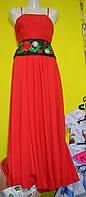 """Вечірня сукня з вишитим поясом """"Маки"""" , фото 1"""